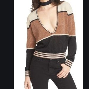 FREE PEOPLE DEEP V SWEATER, SIZE SMALL, NWT